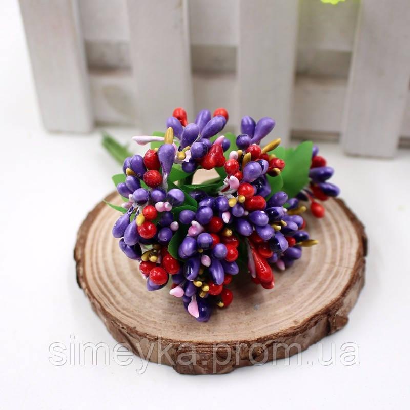 Тычинки для цветочного венка разноцветный микс (фиолетовые), букетик из 12 соцветий