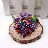 Тычинки для цветочного венка разноцветный микс (фиолетовые), букетик из 12 соцветий, фото 1