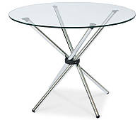 Стол обеденный круглый Тог, каленое прозрачное стекло 10 мм, хромированные ножки