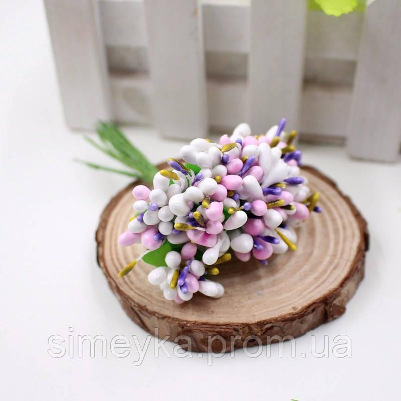 Тычинки для цветочного венка разноцветный микс (белый), букетик из 12 соцветий