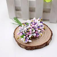 Тычинки для цветочного венка разноцветный микс (белый), букетик из 12 соцветий, фото 1