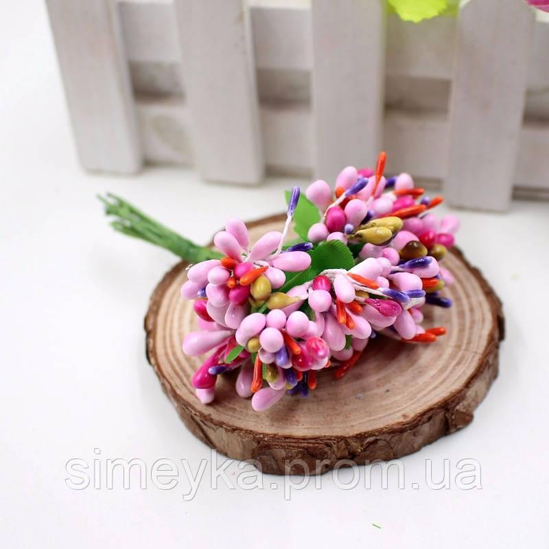 Тычинки для цветочного венка разноцветный микс (розовые), букетик из 12 соцветий