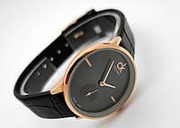 Часы женские - CK Кельвин Клейн в золотом цвете, черный циферблат, фото 1