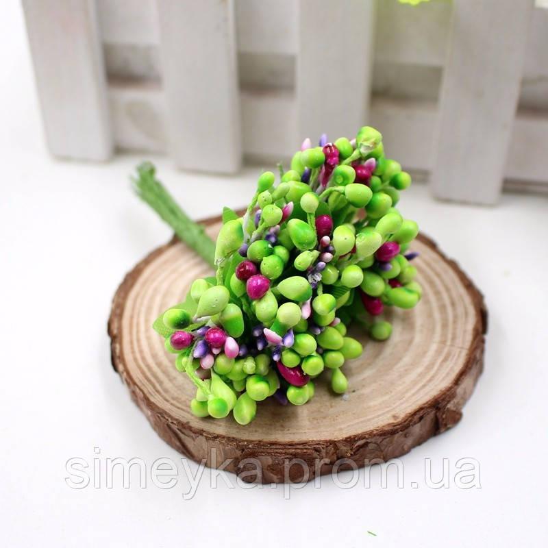 Тычинки для цветочного венка разноцветный микс (салатовые), букетик из 12 соцветий