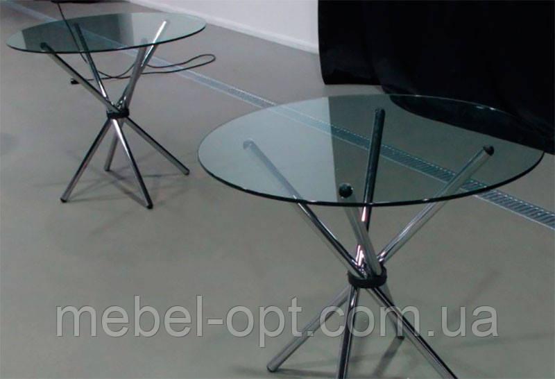 Стол обеденный круглый Тог, каленое черное стекло 10 мм, хромированные ножки