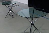 Стол обеденный круглый Тог, каленое черное стекло 10 мм, хромированные ножки, фото 1