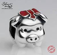 """Серебряная подвеска-шарм Пандора (Pandora) """"Свинка копилка"""" для браслета"""