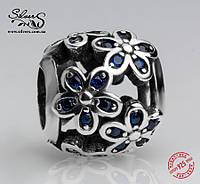 """Серебряная подвеска-шарм Пандора (Pandora) """"Синие цветы"""" для браслета"""
