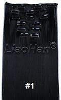 Черные волосы на заколках