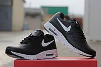 Мужские кроссовки Nike Airmax 87, пресс кожа, черно белые / бег кроссовки мужские Найк Аирмакс 87, легкие