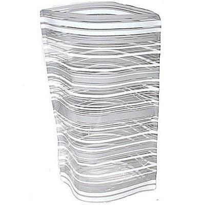 Ваза складная пластиковая прямая широкая Серые полоски 18х27,5 см