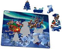 Пазл-вкладыш, Дед Мороз и северное сияние, серия МАКСИ, Larsen