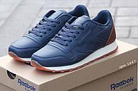 Женские кроссовки Reebok, пресс кожа, синие / кроссовки для бега женские Рибок, удобные, обувь весна