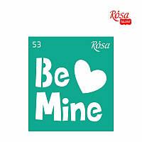 """Трафарет многоразовый самоклеящийся, 9*10 см, """"Love"""", № 53, ROSA Talent, 3625153"""