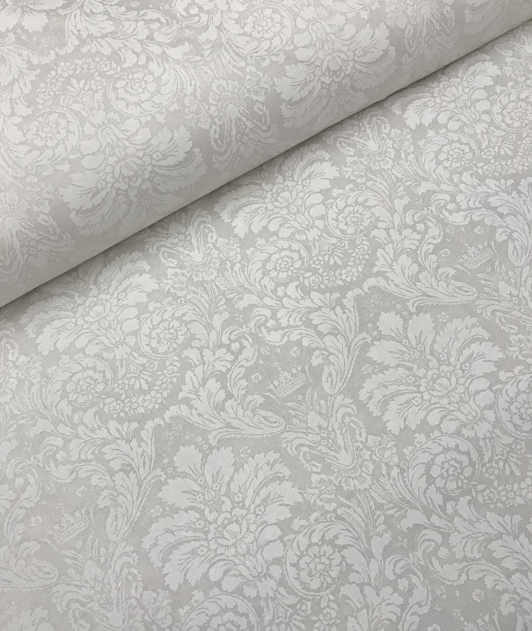 Хлопковая ткань преммиум-класса Дамаск белый