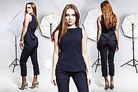 Красивый деловой костюм женский, укороченые брюки и блузка-туника