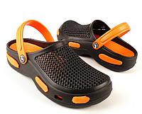 Кроксы, сабо черные / оранжевая середина. Размеры 36/37, 38/39. Jose Amorales 530/550.