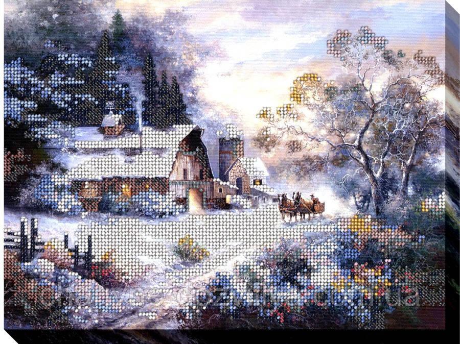 """Набор для вышивки бисером на хлопковом холсте пейзаж """"Зимние будни"""""""