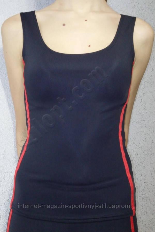 Майка женская спортивная с красной отделкой
