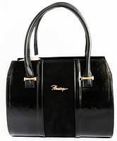 Женская кожаная сумка каркасная с замшевой вставкой