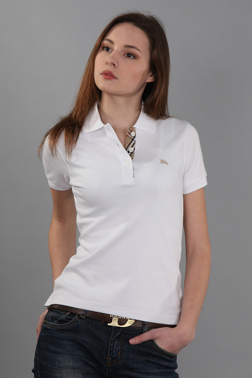 90fc14ef46b3 Женская классическая футболка поло с коротким рукавом с воротником  (реплика) Burberry белого цвета -