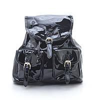 Женский черный лаковый рюкзак L. Pigeon