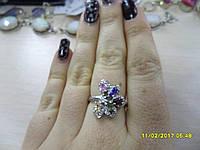 Интересное кольцо с камнями морганит, перидот, гранат, аметист, топаз  в серебре.