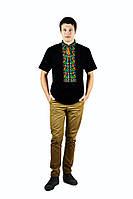 Чорна сорочка вишита різнокольоровим хрестиком , короткий рукав