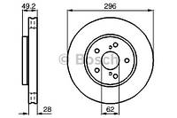 Тормозной диск передний Bosch 986478968 для Toyota Previa (Mcr3, Acr3, Clr3) 08.2000-01.2006