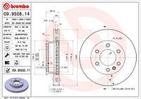 Тормозной диск передний Brembo 09.9508.14 для Mercedes Sprinter 4,6-T C Бортовой Платформой/Ходовая Часть (906) 06.2006-12.2009