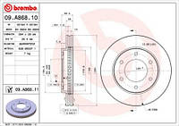 Тормозной диск передний Brembo 09.A868.10 для Mitsubishi L 200 / Triton (KbT, KaT) 04.2010+