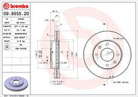 Тормозной диск передний Brembo 09.9555.20 для Hyundai Elantra Седан (Xd) 06.2000-07.2003