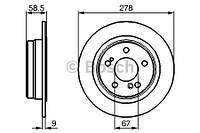 Тормозной диск задний Bosch 986478565 для Mercedes 190 (W201) 05.1990-08.1993