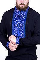 Сорочка вишита чоловіча, чорна,синя вишивка
