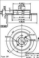 Тормозной диск задний Brembo 08.9465.10 для Renault Kangoo Express (Fc0/1) 07.2003+