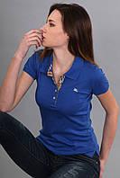 Футболка поло женская с коротким рукавом с воротником (реплика) Burberry синего цвета