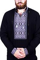 Сорочка вишита чоловіча, чорна, сіра вишивка