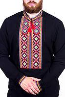 Сорочка вишита чоловіча, чорна, червона вишивка