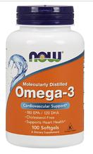 Рыбий жир Омега 3, Now Foods, Omega-3, 1000mg, 100sgel