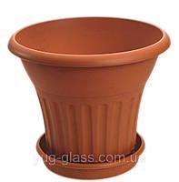 Напольный цветочный горшок 18,5 л с подставкой матовый Bergama (400Х400Х330).