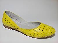 Балетки кожаные женские весение желтого цвета