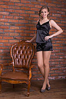 Черный женский спальный набор из мягкого шелка