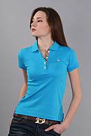 Модная женская футболка поло с коротким рукавом с воротником (реплика) Burberry бирюзового цвета
