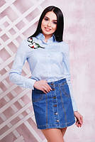 Трендовая рубашка с вышивкой №1711 р. 42-48 лилии