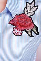 Трендовая рубашка с вышивкой №1711 р. 42-50 розочки