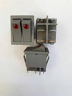 Кнопочный выключатель, Клавиша широкая двойная с подсветкой серый