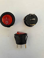 Кнопочный выключатель, Клавиша круглая, с подсветкой, 3 контакта с фиксацией