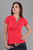 Женская футболка поло с воротником (реплика) Burberry розового цвета