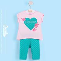 Летний комплект для девочки (туника+бриджи) розово-мятный