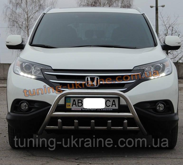 Защита переднего бампера кенгурятник из нержавейки на Honda CR-V 2012-2015 - ООО Tuning Avto в Харькове